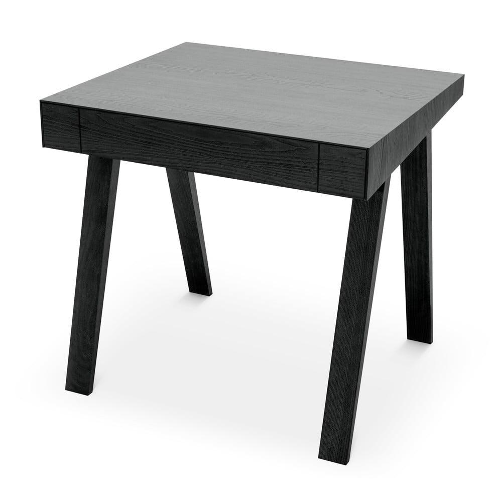 Čierny stôl s nohami z jaseňového dreva EMKO, 80 x 70 cm