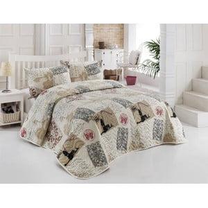 Sada prešívanej prikrývky na posteľ a dvoch vankúšov Galata Beige, 200x220 cm
