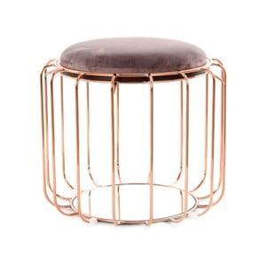 Tmavofialový odkladací stolík / puf s konštrukciou v zlatej farbe 360 Living Canny, Ø50cm