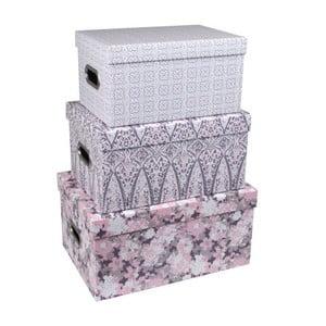 Sada 3 úložných boxov s úchytmi Tri-Coastal Design Vintage Love