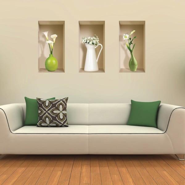 3D samolepky na stenu Nisha Vases Blanc