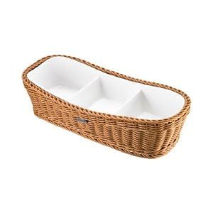Porcelánová servírovacia miska v béžovom košíku Saleen, 31,5 x 13,5 x 7,5 cm