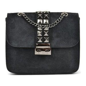Čierna kožená listová kabelka Mangotti Misma