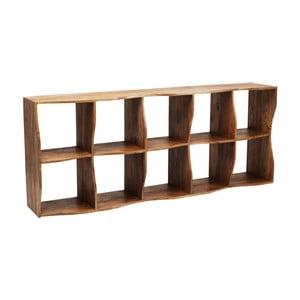 Hnedá drevená polica Kare Design Shelf Waves, 78,5 x 193 cm