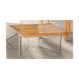 Sklenený konferenčný stolík s doskou z jaseňovej dyhy Esidra Luis