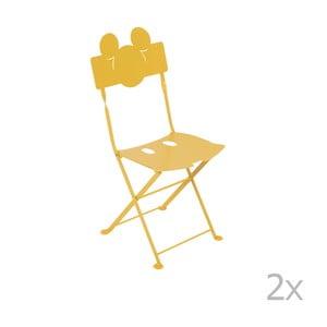 Sada 2 žltých detských kovových záhradných stoličiek Fermob Bistro Mickey Junior