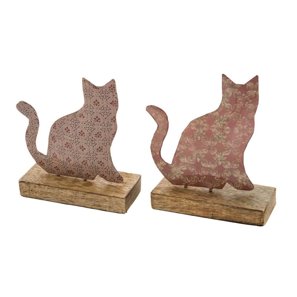 Sada 2 veľkých ružových dekorácií z kovu na drevenom podstavci s motívom mačičky Ego Dekor, 17 × 18,5 cm