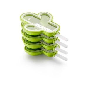 Sada 4 zelených silikónových foriem na zmrzlinu v tvare kaktusu Lékué