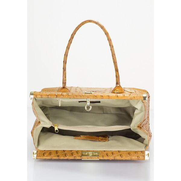 Koňakovohnedá kožená kabelka Lisa Minardi Lantha