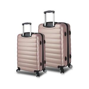 Sada 2 ružových cestovných kufrov na kolieskach s USB porty My Valice RESSNO Cabin & Medium