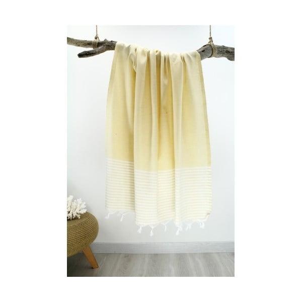 Žlto-biela osuška s pruhmi Hammam Marine Style, 100 x 170 cm