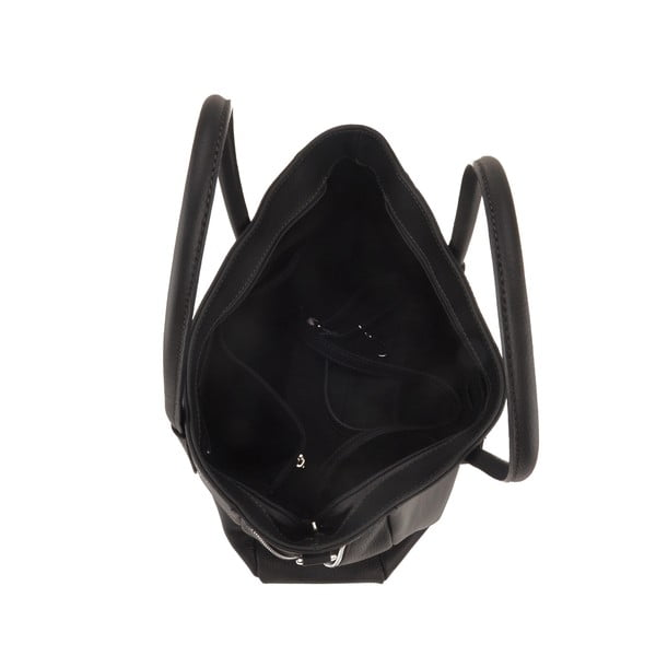 Kožená kabelka Emilio Masi Baiten, čierna