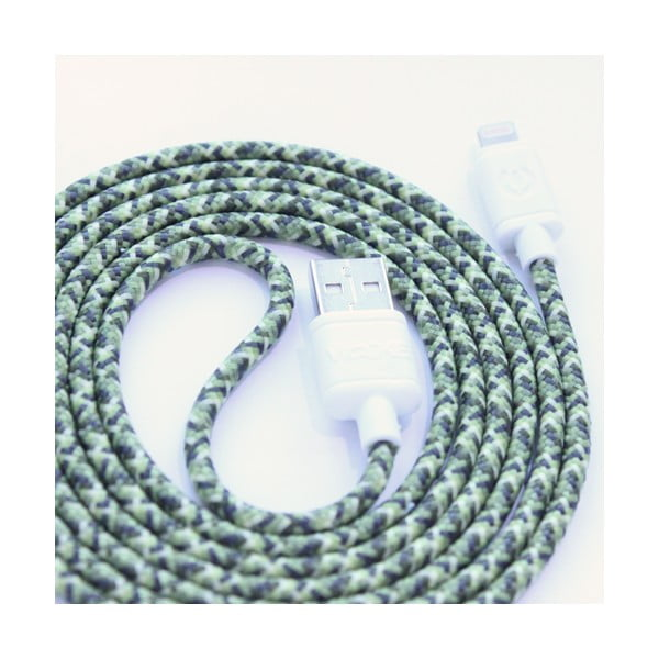 Nabíjací kábel Lightning pre iPhone 5 a iPhone 6 Green Camo, 1,5 m