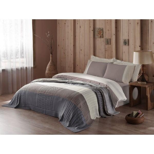 Obliečky s plachtou a posteľnou prikrývkou Brown and Grey, 160x220 cm
