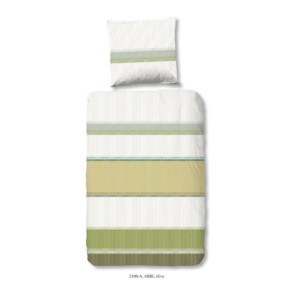 Obliečky na jednolôžko z bavlny Good Morning Arie Olive, 140 × 200 cm