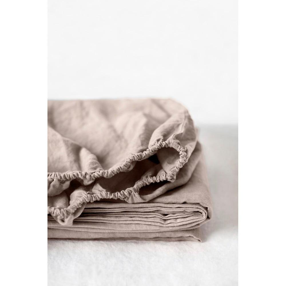 Svetlohnedá ľanová elastická plachta Linen Tales, 180 x 200 cm