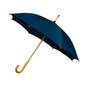 Modrý dáždnik s dreveným madlom Ambiance Wooden, ⌀ 102 cm