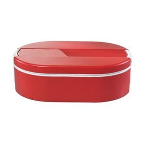Červený oválný termo box na obed Enjoy, 1,4 l