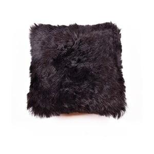 Tmavý obojstranný kožušinový vankúš s dlhým vlasom, 45x45cm
