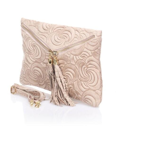 Kožená listová kabelka Flaire, púdrová