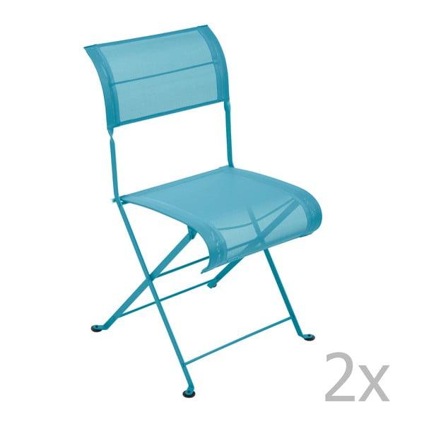 Sada 2 tyrkysových skladacích stoličiek Fermob Dune