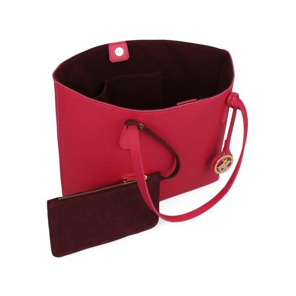 Fuksiovoružová kabelka s tmavočerveným vnútrom Beverly Hills Polo Club Celeste