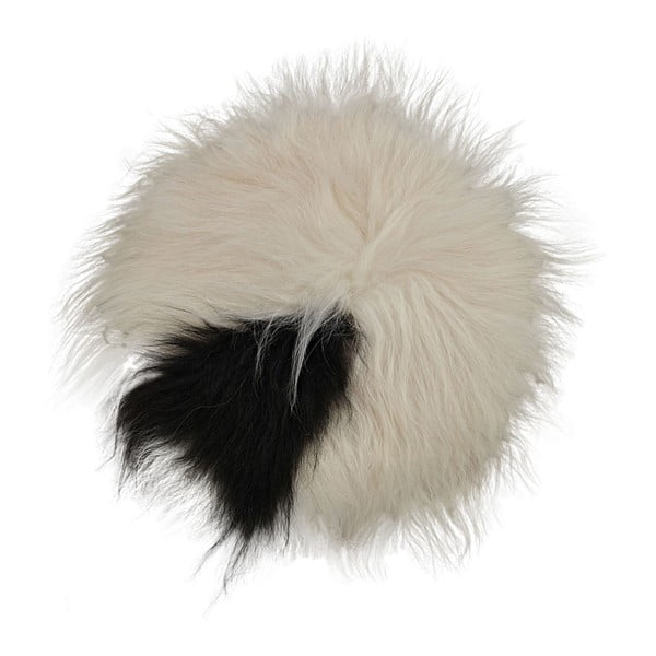 Čierno-biely kožušinový podsedák s dlhým vlasom Spotted, Ø 35 cm