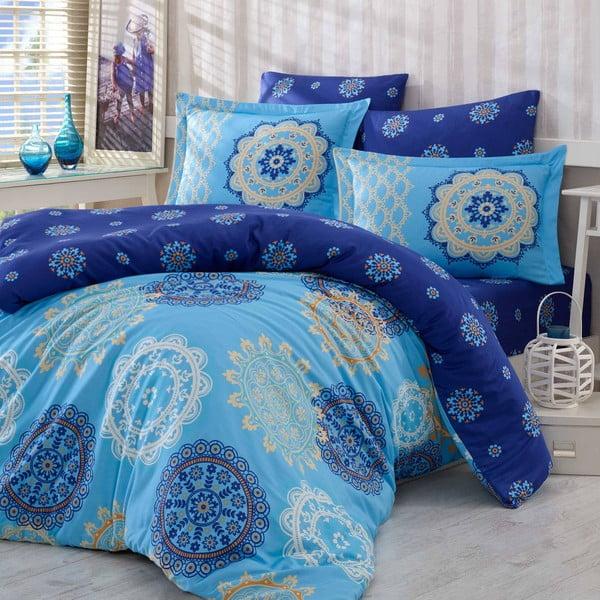 Obliečky z bavlneného saténu s plachtou na dvojlôžko Ottoman Blue, 200×220cm