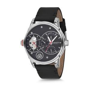 Pánske hodinky s čiernym koženým remienkom Bigotti Milano Robin