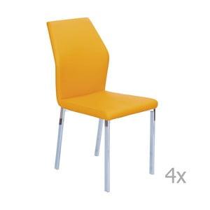 Sada 4 oranžových jedálenských stoličiek 13Casa Valencia
