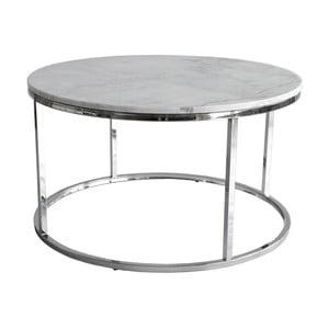 Biely mramorový konferenčný stolík s chrómovanou podnožou RGE Accent, ⌀ 85 cm