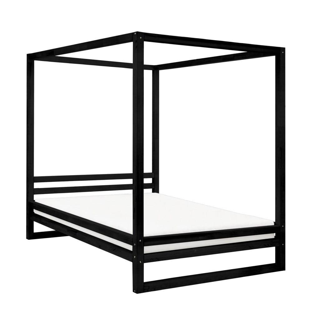 Čierna drevená dvojlôžková posteľ Benlemi Baldee, 200 × 190 cm