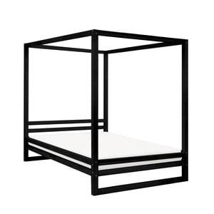 Čierna drevená dvojlôžková posteľ Benlemi Baldee, 190 × 180 cm