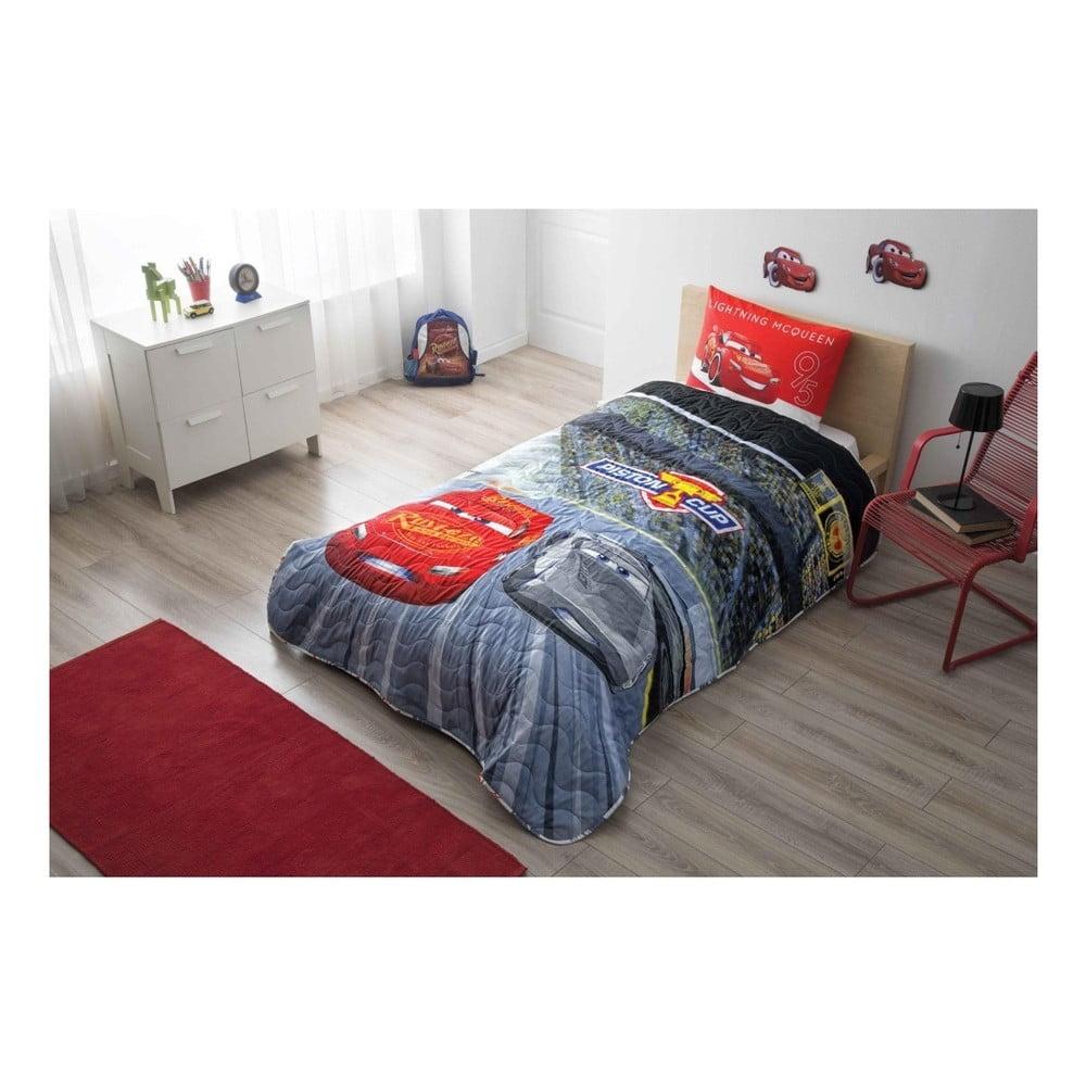 Set plédu na posteľ a obliečky na vankúš Disney Cars, 160 × 220 cm