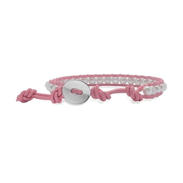 Svetlo ružový náramok z pravej kože s perlami Lucie & Jade