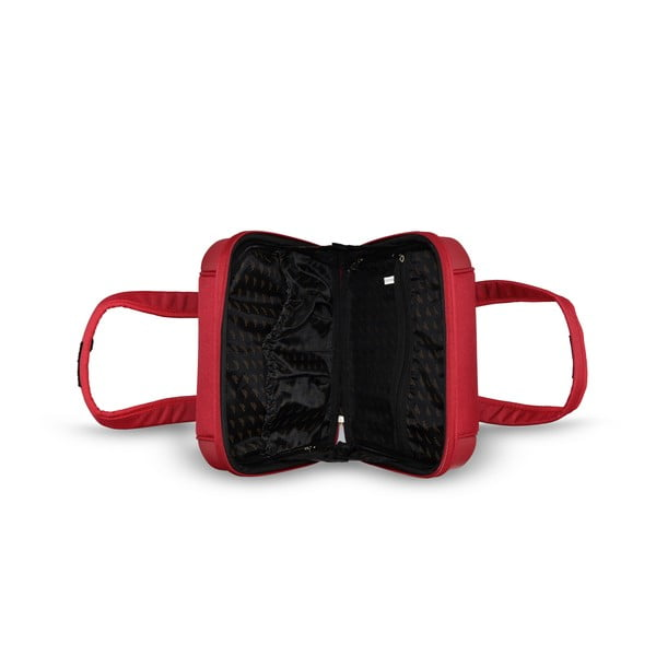 Sada tašky na koliekach a príručnej tašky Vanity Red