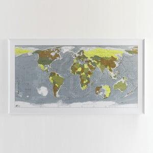 Zelená mapa sveta v priehľadnom puzdre The Future Mapping Company Colour Map, 130×72cm