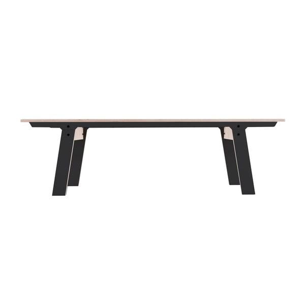 Čierna lavica na sedenie rform Slim 01, dĺžka 165 cm