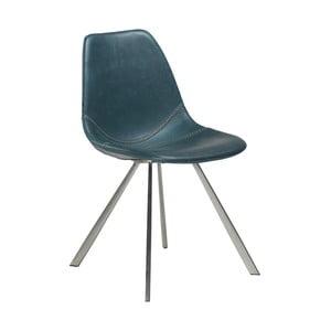 Modrá jedálenská stolička z eko kože s oceľovou podnožou DAN–FORM Denmark Pitch