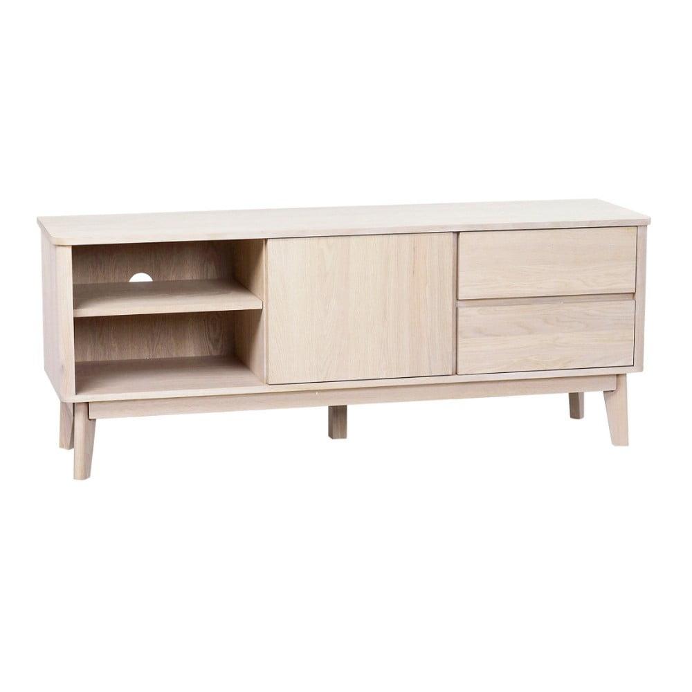Televízny stolík z bieleného dubového dreva Yumi Folke