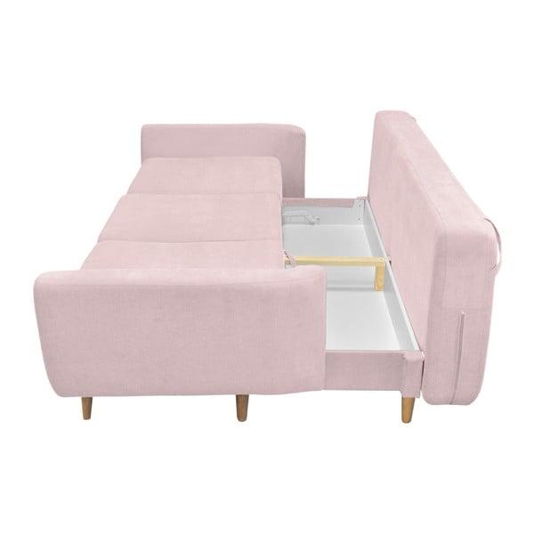 Ružová rozkladacia pohovka so svetlými nohami Mazzini Sofas Roso
