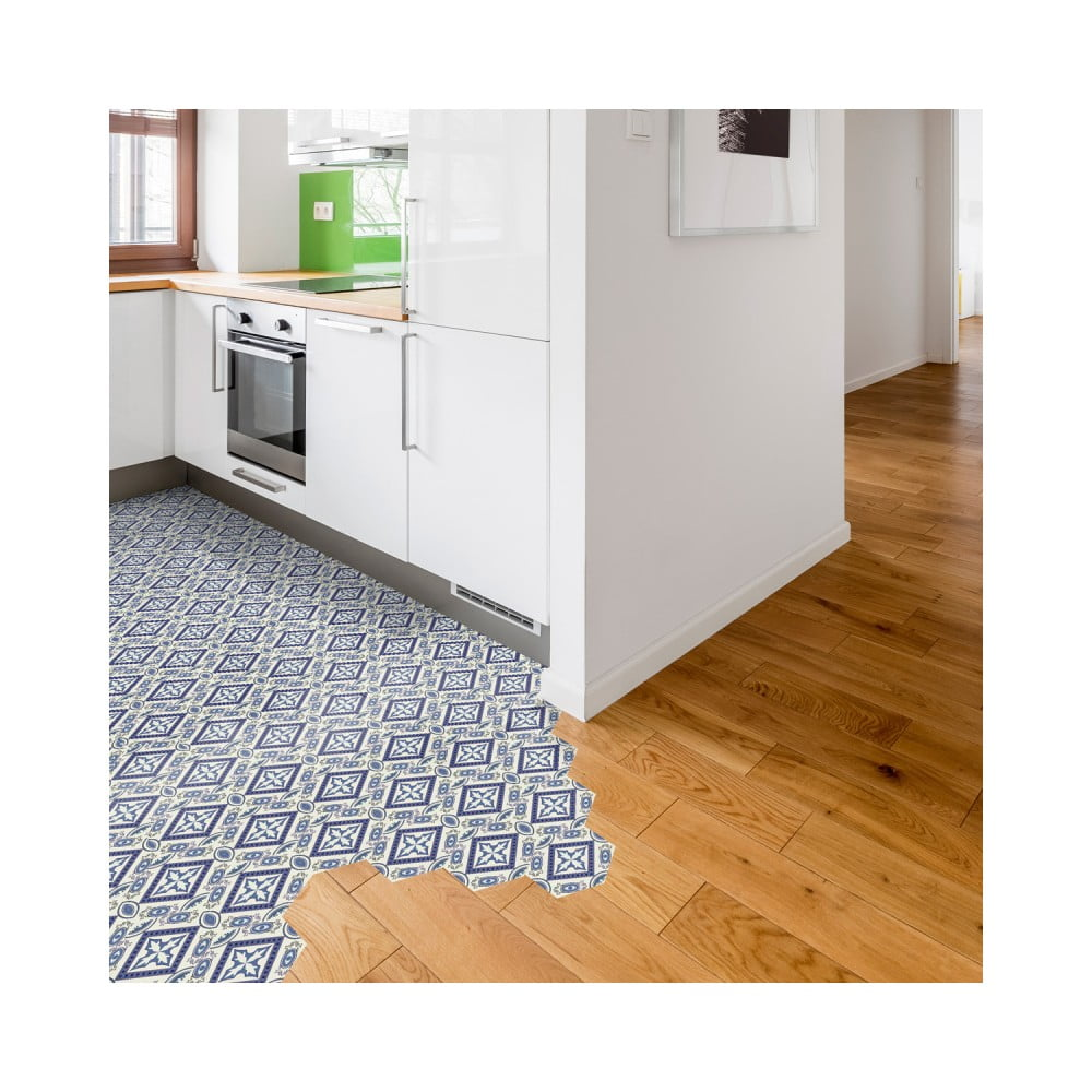 Sada 10 samolepiek na podlahu Ambiance Floor Stickers Hexagons Leonardina, 40 × 90 cm