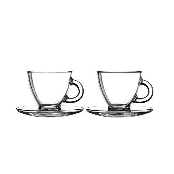Sklenené šálky s tanierikmi na cappuccino Entertain, 2 ks