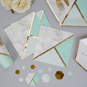 Sada 16 papierových obrúskov Neviti Mint Colour Block Marble