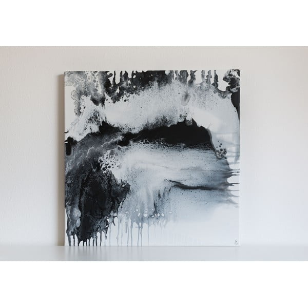 Obraz Black and White Fluid, 70x70 cm