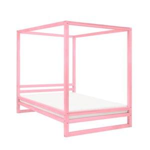 Ružová drevená dvojlôžková posteľ Benlemi Baldee, 190 × 160 cm