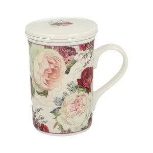 Porcelánový hrnček s filtrom s motívom kvetín Duo Gift Roses, 300 ml