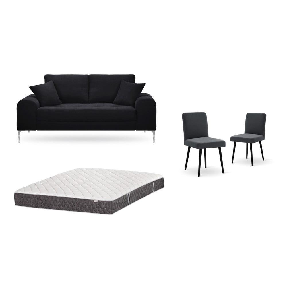 Set dvojmiestnej čiernej pohovky, 2 antracitovosivých stoličiek a matraca 140 × 200 cm Home Essentials