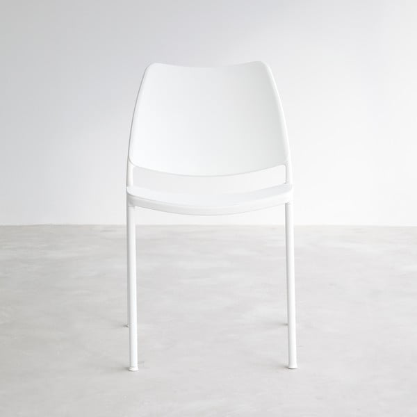 Biela stolička s bielymi nohami Stua Gas