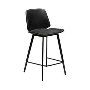 Čierna barová stolička z eko kože DAN–FORM Denmark Swing